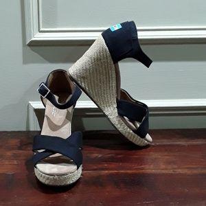 Toms Black Wedge Sandals
